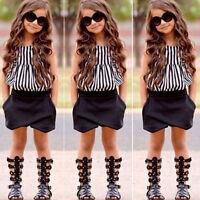 2PCS Child Kids Baby Girls Outfits Clothes T-shirt Tops+Shorts Pants Set Summer