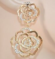 ORECCHINI donna STRASS oro eleganti ROSE cristalli da cerimonia matrimonio 135X