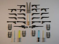 Guns for LEGO Minifigures. Lot of 39. New!! Stocking stuffer Lightsabers Swords