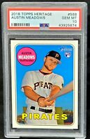 2018 Topps Heritage Rays AUSTIN MEADOWS Rookie Card PSA 10 GEM MINT Low Pop 160