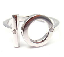 Authentic! Hermes 18k White Gold Diamond 10 Band Ring Size 7