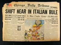 Apr 7, 1944 World War II Newspaper Headline Shift Near in Italian Rule Chicago