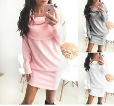 Sexy UK Autumn Ladies Knitted Sweater Mini Dress Long Sleeve Winter Lapel Jumper