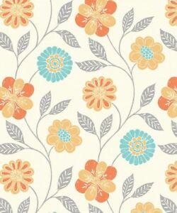 Arthouse Retro Floral Trail Bright Flower Daisy Blue Orange Wallpaper 699201