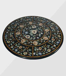 "36"" Marble Center Table Top Handmade Semi precious stones Work Home office Decor"