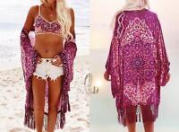AU SELLER Oversize Chiffon fringe Kaftan Open Top Beach Kimono Cover Up sw044-1