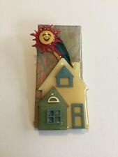 LUCINDA House Pin Rainbow Sun Brooch Home Unique Collectible Gift OOAK HTF 3D