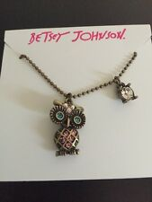 Critter Owl Crystal Necklace/Pendant ab 19 $32 Betsey Johnson Gold Tone Mini