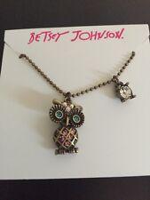 $32 BETSEY JOHNSON GOLD TONE MINI CRITTER OWL CRYSTAL NECKLACE/PENDANT ab 19