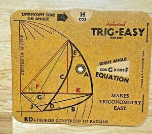 VINTAGE 1943 EDITION TRIG-EASY NEEDHAM DIETZGEN SPHERICAL TRIGONOMETRY CHART