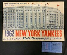 VINTAGE 1962 NY YANKEES OFFICIAL BASEBALL PROGRAM/SCORE CARD SCORED W/TICKET