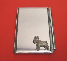 Schnauzer Dog Motif on Chrome Notebook / Card Holder & Pen Christmas Gift