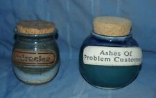 2 ceramic coin jars Ashes of Problem Customers by Tumbleweed pottery Miracles
