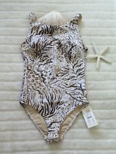 👙 Milea by Seafolly 10AUS/6US Leo Animale High Neck Maillot Natural Shelf Bra