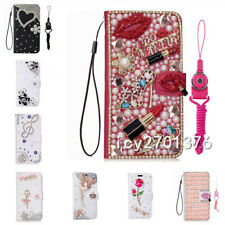 Luxury Bling Diamonds Crystals Leather Flip Wallet Phone Case Cover with straps