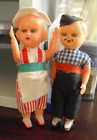 Lot of 2 Vintage 1950s Hard Plastic Ethnic Boy and Girl Dolls 4 1/2""