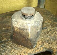 Early Antique Handmade Wooden and Glass travelling inkwell.  Quite crude, chunky