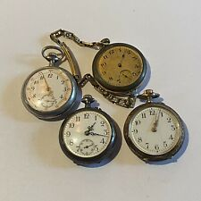 BULL LOT OF 4 POCKET WATCHES - GOLD FILLED AND COIN SILVER (S6)