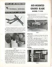 Vintage Wheel Horse Parts List Amp Instr Mid Mounted Grader Blade Model 7 1121