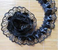5 Yards Black 2-layer Pleated Organza Lace Edge Trim Gathered Mesh Ribbon Sewing