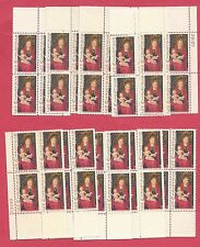 U.S. SCOTT 1336, CHRISTMAS 1967- TEN (10) MNH 6 CENT PLATE BLOCKS OF 4 - 1967