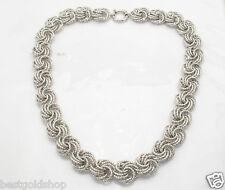 "18"" Technibond  Diamond Cut Rosetta Chain Necklace Platinum Clad Sterling Silver"