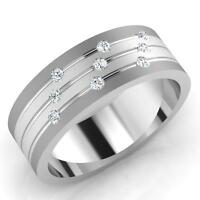 0.14 Ct Mens Natural Diamond Engagement Ring 14K Solid White Gold Band Size 8 9