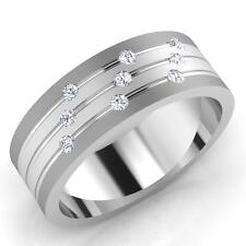 0.14 Ct Mens Natural Diamond Engagement Ring 14K Solid White Gold Band 356