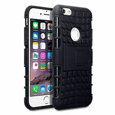 For iPhone 6/6S (4.7) Rugged Tough Armour Rubberised Hard Back Case - Black