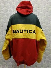 VTG 90s Nautica Colorblock Spellout Reversible Sailing Jacket Sz XL Hidden Hood