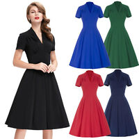 Women's Black V-Neck Retro Vintage 50's Evening Party Swing Tea Dress Skirt M/S