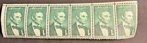 VINTAGE U.S Stamps (6) 1961 1 cent LINCOLN. MINT.