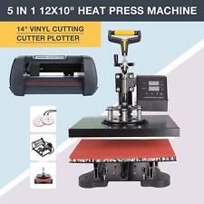 """14"""" Cutting Vinyl Cutter Plotter Paper and 5 in 1 12""""x10"""" Heat Press Machine"""