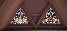 + Pair of Fine Older German Stained Glass Church Windows,  + 2 Panels for 1 bid