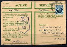 ACTIVE SERVICE ENVELOPE KING GEORGE VI 10d OPENED BY RAF CENSOR No 36 TO ENGLAND