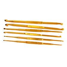 6 Pz Oro Alluminio Doppia-testa Uncinetto 2.0-7.0MM B7F3