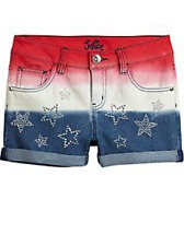 Justice Girl's Red White & Blue Sprayed Denim Shorts Size 10R NWT $29.90