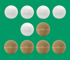 10 Foosballs: 5 White Smooth & 5 Natural-Colored Cork Table Soccer Balls