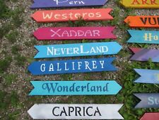 Custom Arrow Directional Wood Sign Handpainted 2ft Wedding, Camp Lake Location