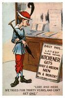 Antique military WW1 postcard Daily Pail Kitchener gets half a million men month