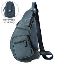 Blue Men's Leather Sling Backpack Chest Pack Bike Travel Messenger Shoulder Bag