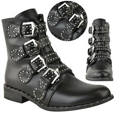 New Womens Ladies Studded Buckle Ankle Boots Chelsea Biker Punk Strappy Size