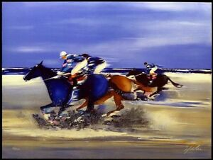 """Victor Spahn """"Entrainement a Deauville I"""" Hand Signed Lithograph Art MAKE OFFER"""