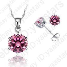 Sale Pendant Necklace Stud Earrings Sets for Women Cubic Zirconia CZ Jewelry Set