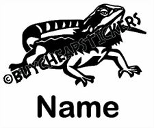 Bearded Dragon with Name Vinyl Decal - Sticker 3x5 - Any Color