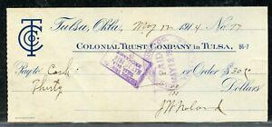 US COLONIAL TRUST COMPANY IN TULSA OF TULSA OKLAHOMA, CANCELLED CHECK 5/12/1914