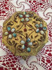 Jewelry Trinket Box made in India tapestry/seashell/ornate