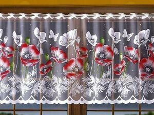 KITCHEN CAFE NET CURTAIN SOLD BY METERS RED POPPY