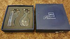"PAIR 6"" Mikasa Platinum Candle Holder ""Prism"" Candlesticks Modern - in box"