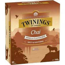 Twinings of London Chai Vanilla Flavoured 80 Tea Bags 160g Box NEW